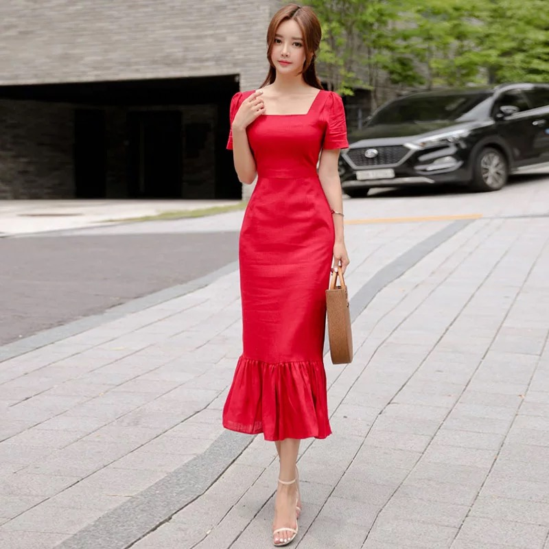 Fashion Women New Arrival Solid Short Sleeve Personality High Quality Slim Sexy Summer Temperament Girls Party Trumpet Dress