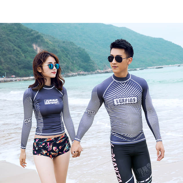 0b81563eba placeholder DIVESAIL rash guard shirts for match couples swimwear long  sleeve surf shirt beachwear
