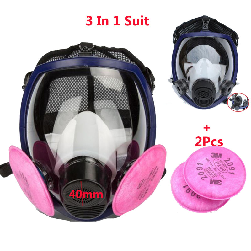 3 In 1 Suit Paint Spray Double Use Gas mask Same For 3M 6800 Full Face Mask Facepiece Industry Respirator With 3M 2091 2017 new full face gas mask cartridge organic vapor respirator mask spray paint anti dust formaldehyde fire comparable 6800