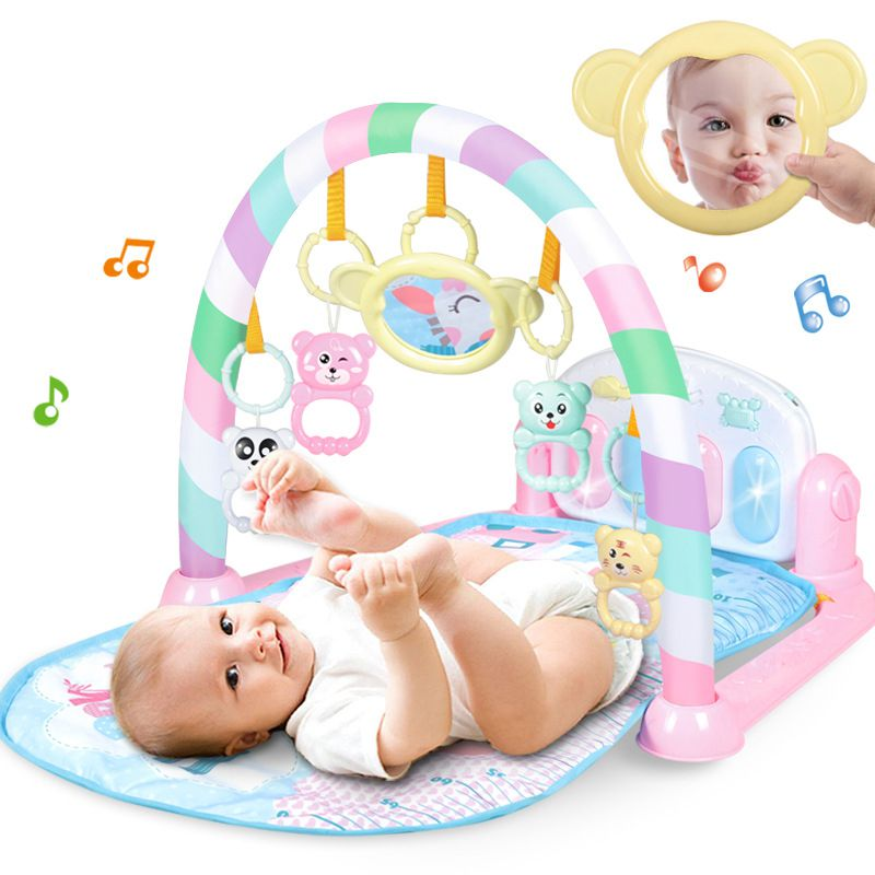 Nouveau-né coup de pied jouer jouet avec Piano pour nouveau-né bébé activité dessin animé jouer musique tapis Gym musique tapis couvertures chaudes