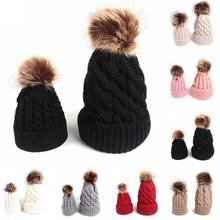 Winter baby hat Cotton knitted mother daughter matching hats cap 2pcs  Father sons fur pompom Beanies bba887e353f