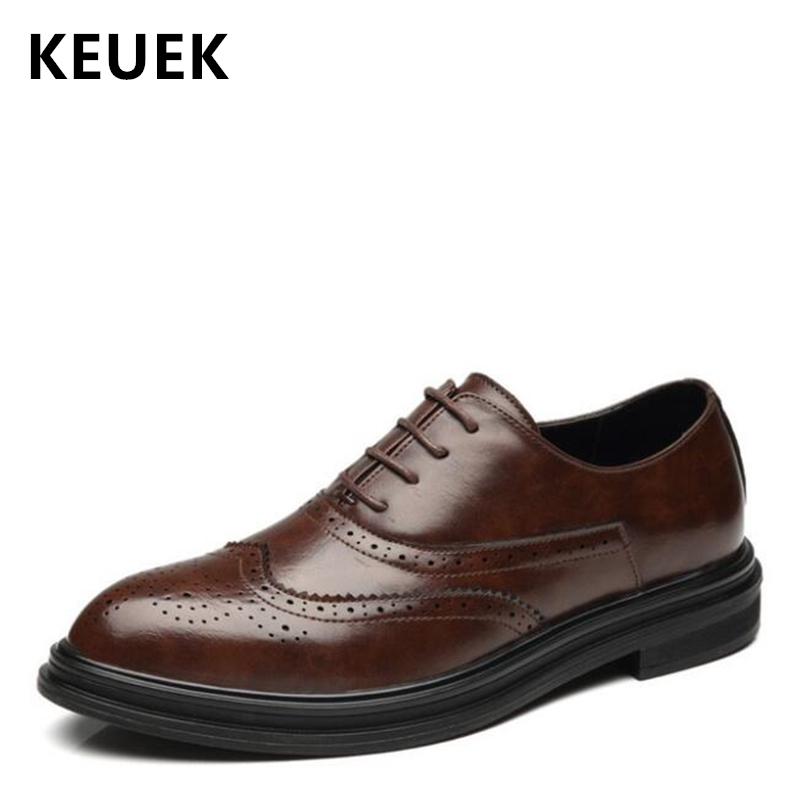 Spring Autumn Men Casual leather shoes Lace-Up Pointed Toe Brogue Shoes Male Flats Business dress shoes Oxford 033Spring Autumn Men Casual leather shoes Lace-Up Pointed Toe Brogue Shoes Male Flats Business dress shoes Oxford 033