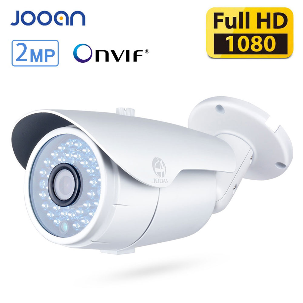 JOOAN 2MP ONVIF Outdoor IP Camera 1080P Bullet POE Security Camera Waterproof Night Vision 36 IR-Leds White CCTV Network