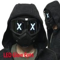 Goggles LED Lights Mask Luminous Half Face X Glowing Eyes DIY Eyewear Mask Removable masks DJ Party Halloween Cosplay Prop Gift