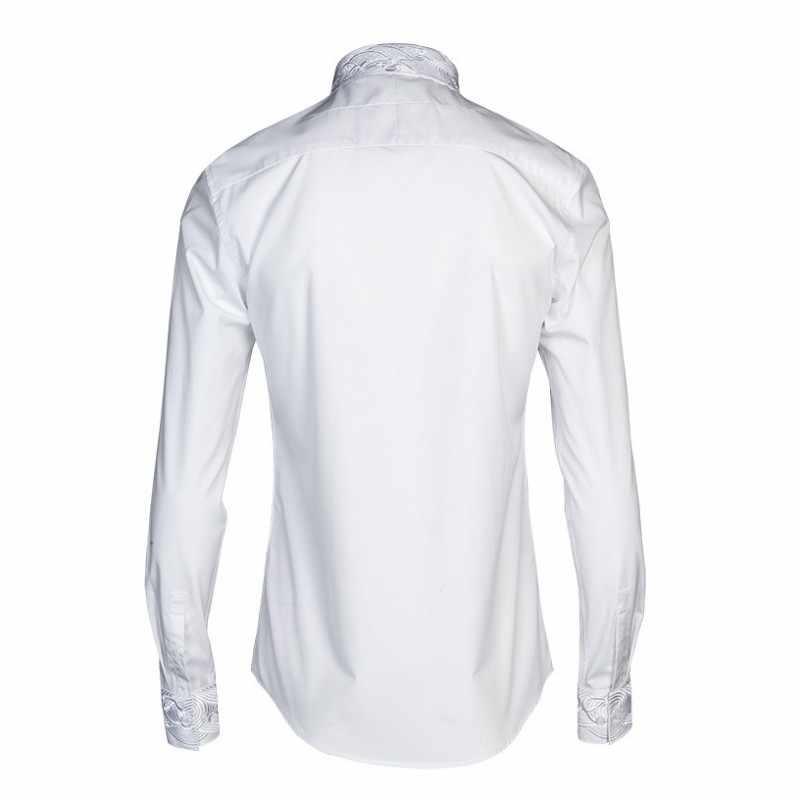 Модные деловые повседневные рубашки с длинными рукавами для мужчин с квадратным воротником, черные, белые брендовые рубашки-смокинги 2019, тонкая кружевная ткань для мужчин