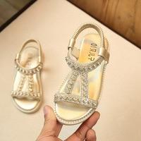 2018 neue Kinder Sommer Baby Kleinkind Mädchen Sandalen Rosa Gold Silber Prinzessin Schuhe Für Kinder Mädchen Strass Flachen Sandalen 28