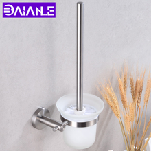 Modern Toilet Brush Holder Stainless Steel Wall Mounted Round Glass Cup Holder Bathroom Hardware Scrub Cleaning Brush Holder Set chrome wc toilet brush holder modern 304 stainless steel and copper wall mounted cleaning hanging decor bathroom accessories