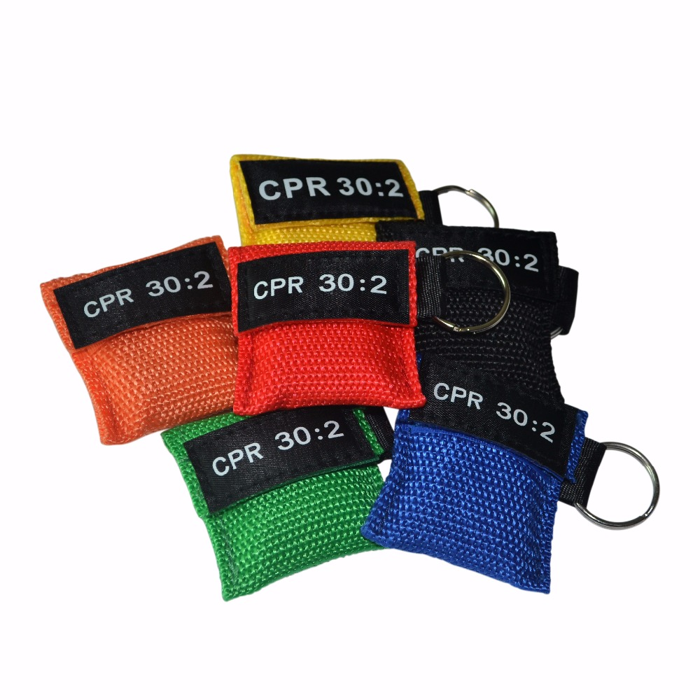 100Pcs/Pack CPR Resuscitator Mask 30:2 CPR Rescue Face Shield With Key Ring For First Aid Training 6 Colors Can Be Chosen sanrenmu sk009d lucky number 9 carabiner with key ring