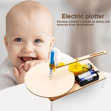 Kids Creative Wooden Electric Plotter Science Toys DIY Drawing Assembled Model(China)