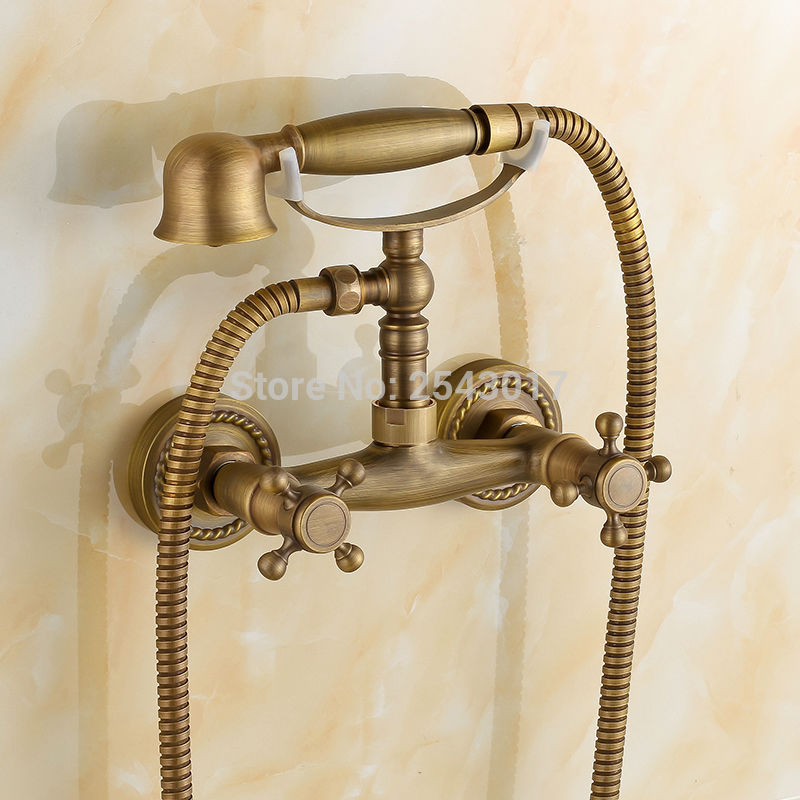 Wholesale and Retail Antique shower faucet Telephone shape Bathtub Shower Set Wall Mounted Dual Hole Hot