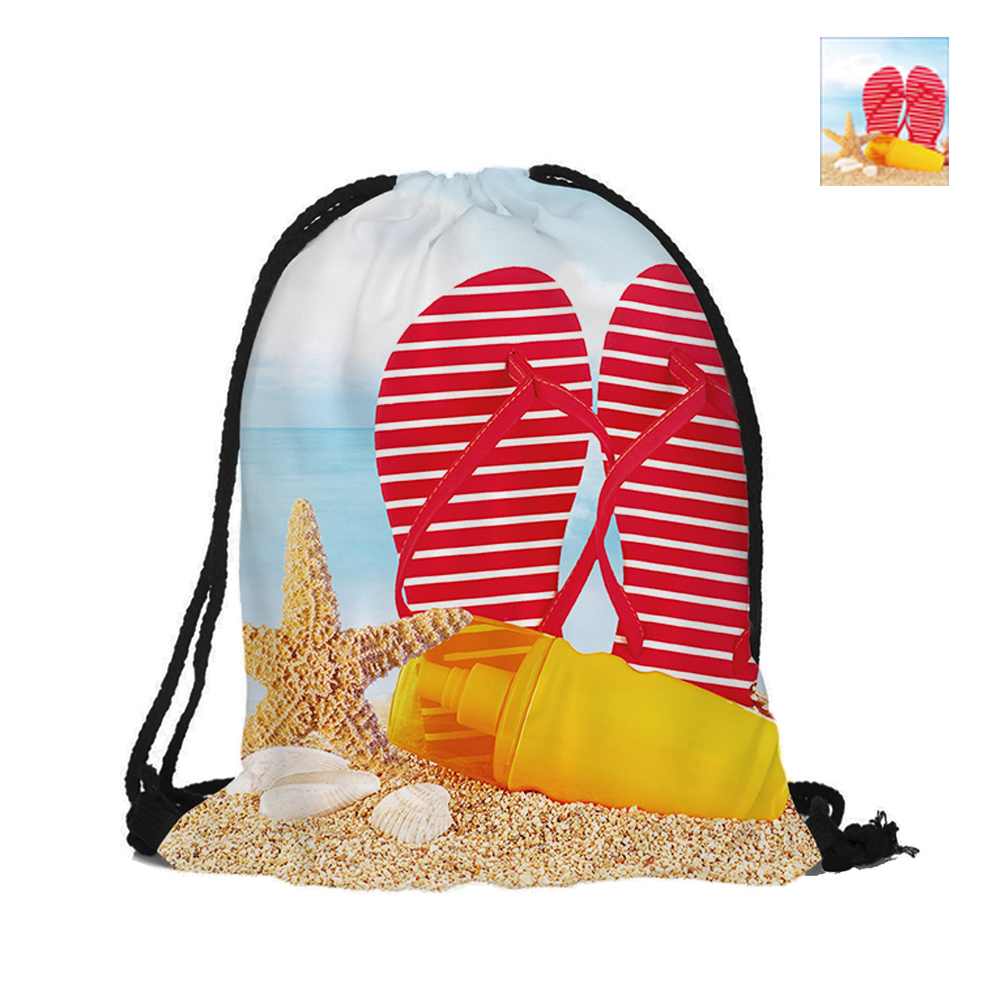 Enjoy The Beach Time Printed Drawstring Backpack Double Sided Printing Polyester Pouch Backpacks For Travel And School