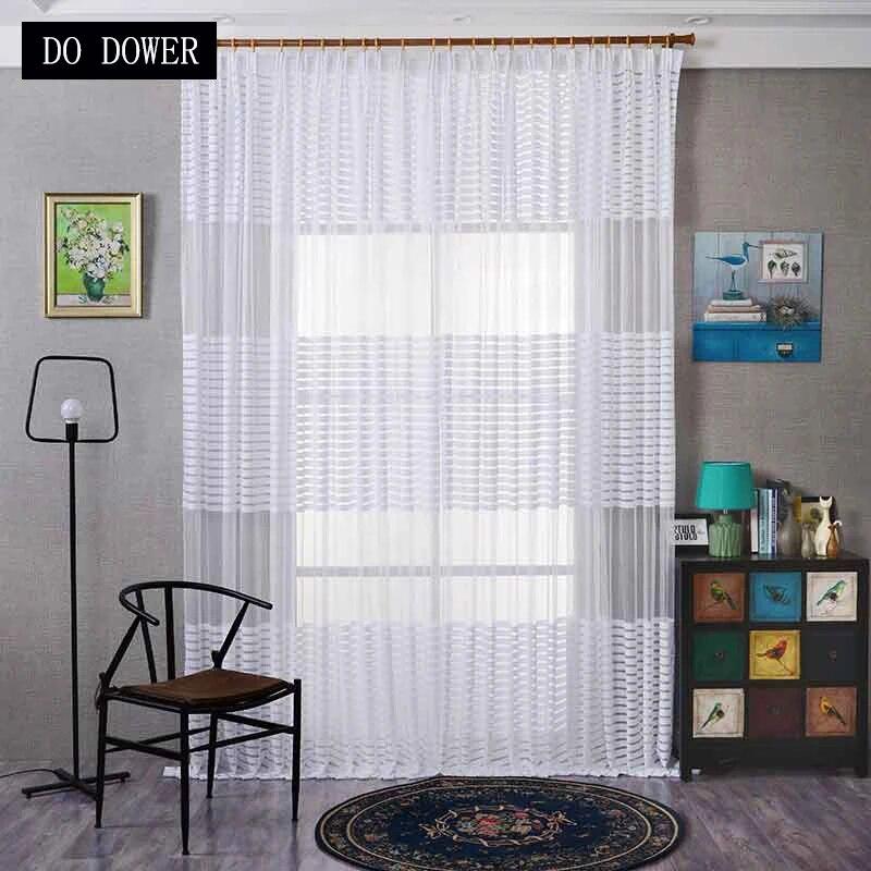 rideaux de fenetre a rayures horizontales blanches voile transparent style moderne decoratif maison salon chambre a coucher porte pare soleil