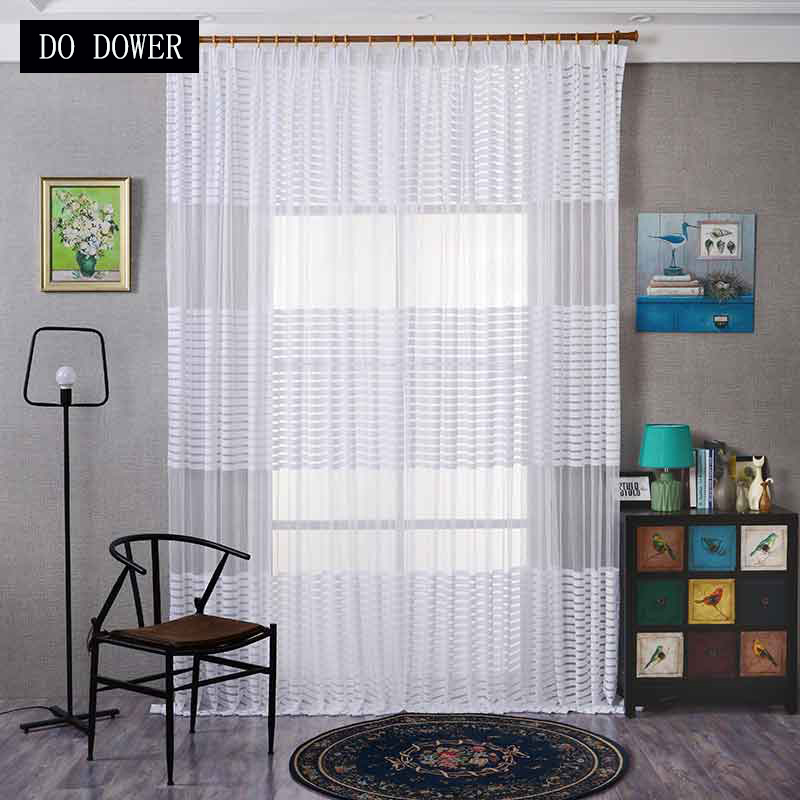Fashion Stripe Rustic Curtain Yarn Bedroom Living Room: White Horizontal Striped Window Curtains Voile Sheer