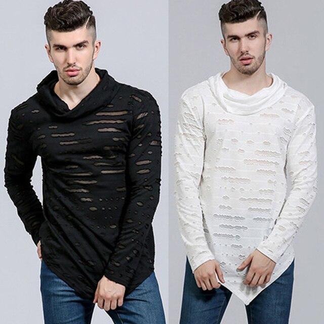 Hommes Ripped Long de 2018 Causalité shirt Mode T Hip Hop Élégant Top de Coton dOwwYRx