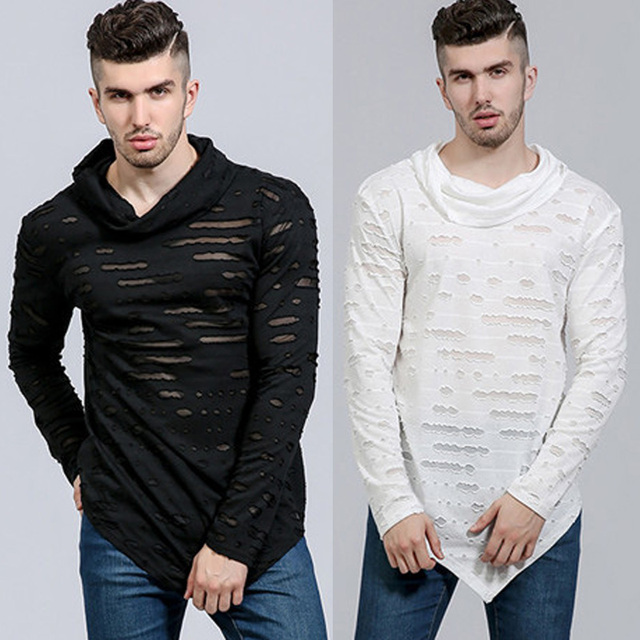 2018 Men s Fashion Stylish Hip-hop Long T shirt Cotton Causal Top Ripped  Holes Asymmetrical Long Sleeve Tops Ripped T Shirts Men c745533efd7a