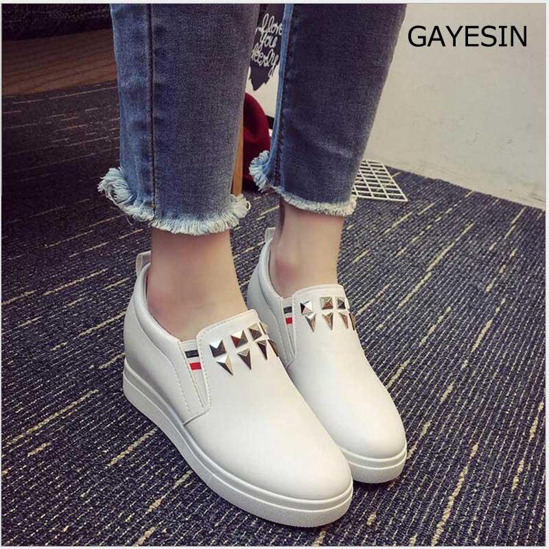 Dames Sneakers Mode Platform Casual schoenen Mode Leer Lage top Slip - Damesschoenen