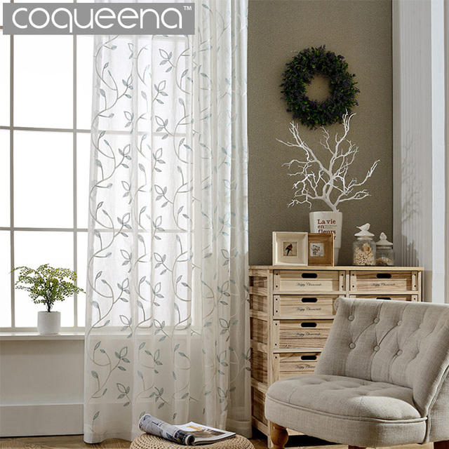 Embroidered Leaves Design White Sheer Curtains For Living Room Bedroom  Kitchen Embroidered Sheer Voile Curtains Yarn