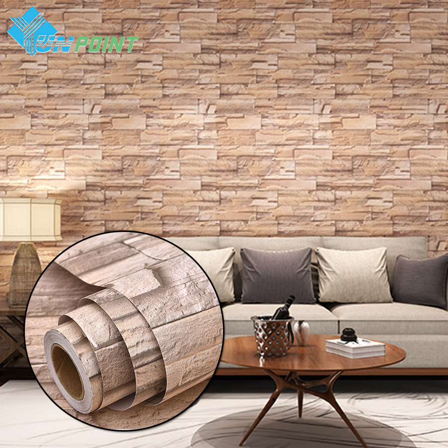 3m 5m Modern Vinyl Self Adhesive Wallpaper Pvc Waterproof Stone Wallpapers Gray White Brick Wall