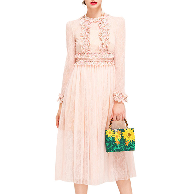 Vestidos de playa Womens Fit-and-Flare Lace Long Sleeve Front Flowers Splicing Cocktail Party Dress