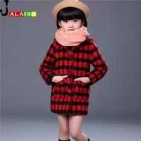 Autumn Winter Plaid Girl Jacket Girls Coat Fashion Kids Jackets Girls Long-style Cotton Outerwear Jacket Child Coat For 2-11Y