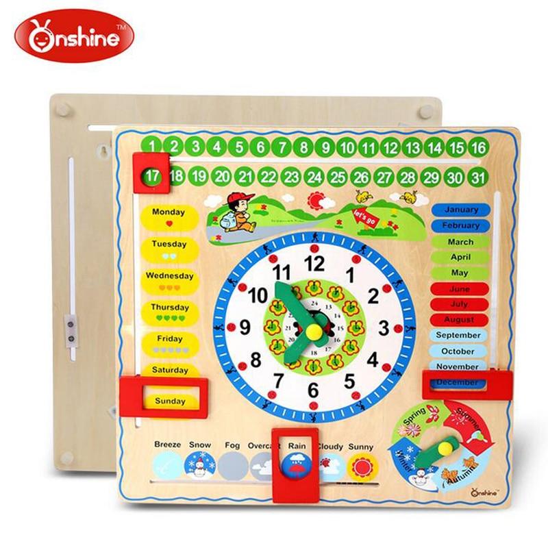Onshine multifonction calendrier horloge Puzzle suspendus planche de bois enfants enfants début éducation jouet apprendre temps saison météo mois