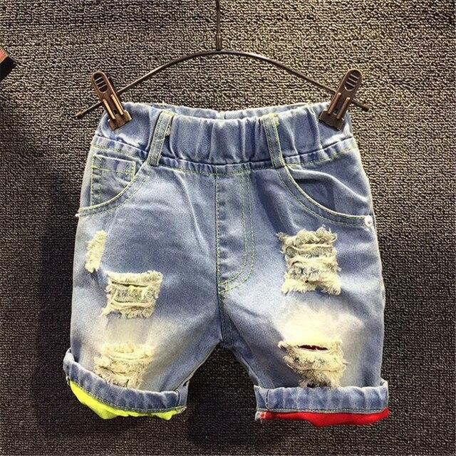 25d249049b222 D'été Garçons Shorts New Casual Couleur enfants Déchiré Trous Denim Shorts  Jeans Pantalon Pour