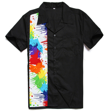 953617f0 Street Graffiti Contrast Shirt 90's Retro Men's Blouse Abstract Colorful  Splatter Paint Shirts Free Shipping(