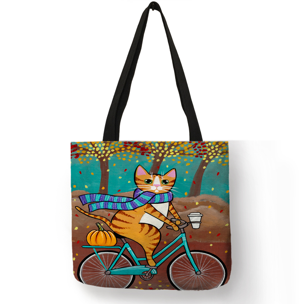 Personalized  Cat Tote Bag For Women Lady Folding Reusable Linen Shopping Bag With Print Travel School Bags Handbag tote bag