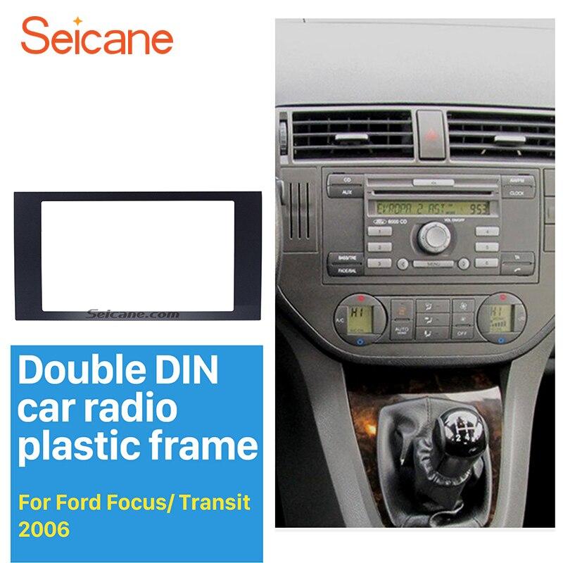 Seicane Audio Frame Car Refitting DVD Panel Dash Kit Fascia for 2004-2008 Ford Focus Transit Double DIN Radio Frame Fascia