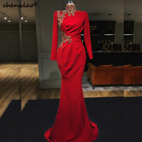 2019 New Red Evening Dresses High Collar Full Sleeves Beaded Mermaid Evening Dress Formal Party Gowns Vestidos