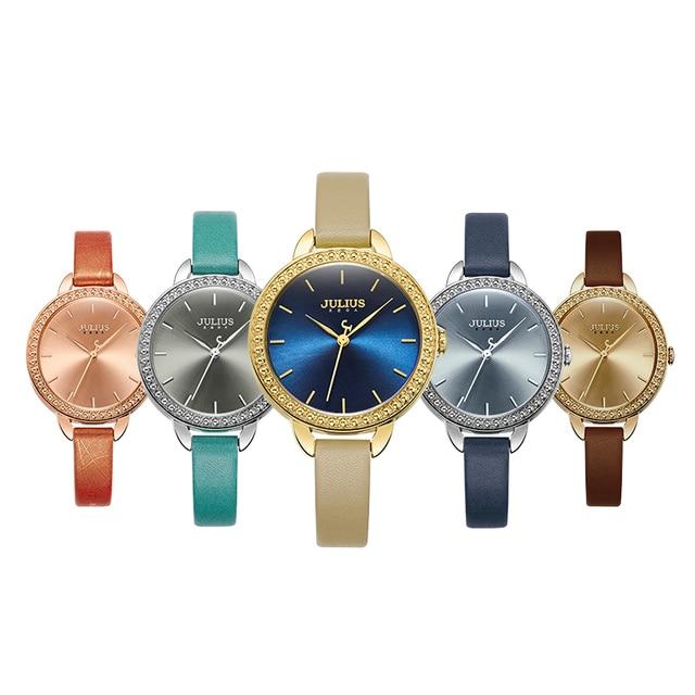 Julius donne di Marca di Cristallo Quadrante Grande Bracciale orologi da donna orologi Da Polso Al Quarzo Orologio femminile vigilanza di cuoio Relogio Feminino Reloj Mujer