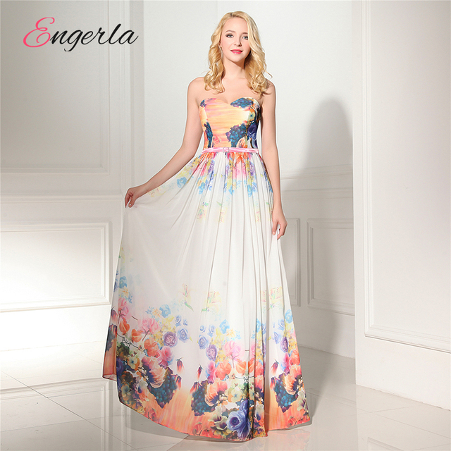 a26da06d8b Engerla Floral Print Pattern Bridesmaid Dresses For Beach Wedding A Line  Sweetheart Lace Up Prom Dresses Vestido De Festa CB014