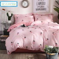 New Pink Printed comforter bedding adult duvet cover fruit bed linen Comfortable egyptian cotton king twin full kids bedclothes