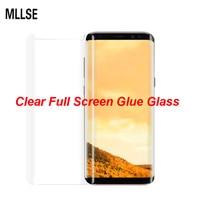 MLLSE 3D Curvo Limpar Completa Cola de Vidro Temperado Para SAMSUNG S8 completa Adesivo Protetor De Tela Para Galaxy S8 + Nota 8 Caso do Meio