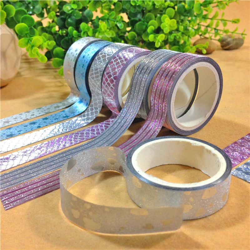 10pcs set glitter washi tape set japanese stationery scrapbooking decorative tapes adhesive. Black Bedroom Furniture Sets. Home Design Ideas