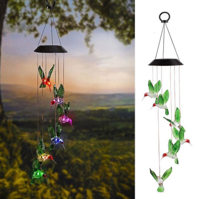 Solar Powered Chimes Light Butterfly Garden Hanging Wind Chime Light Festival Wedding Romantic Hanging Lamp Yard Path Light