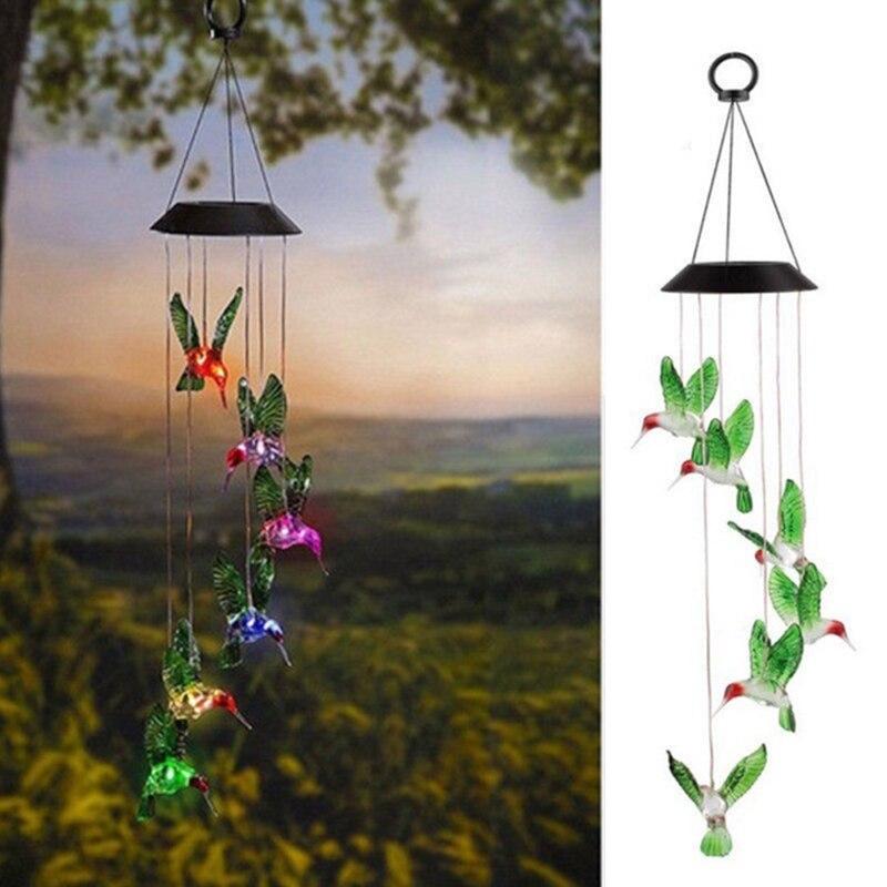 Zonne energie Chimes Licht Vlinder Tuin Opknoping Wind Chime Light Festival Bruiloft Romantische Opknoping Lamp Yard Path Light-in Zonnenlamp van Licht & verlichting op title=
