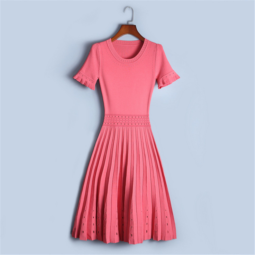 Runway Women Dresses High-end Fashion Luxury 2018 NEW Summer Hollow Out Elastic Short Sleeve Knitted Dress Female Sexy Vestido