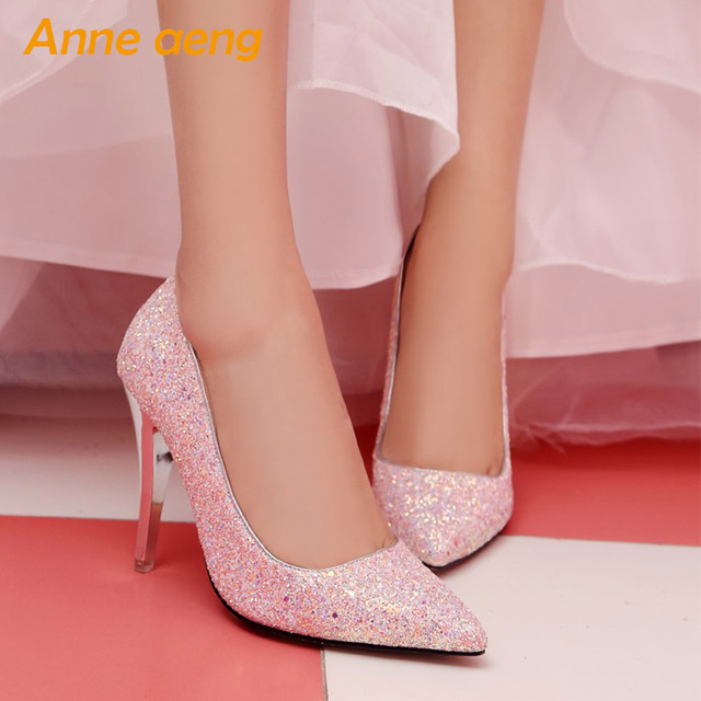 women pumps High thin heel bling Bridal wedding shoes classic pointed toe Sexy Ladies party shoes White High Heels size 34-43