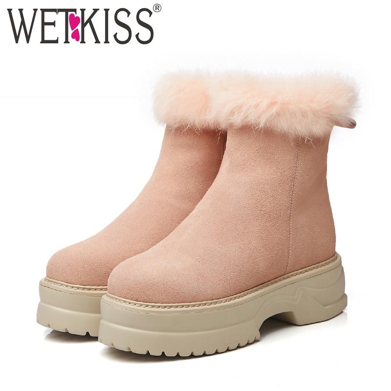 Black Dedo 2018 Casual De Thick Calzado Bota Plush Redondo pink La Pie Del Mujer Botas Invierno Plush Gamuza Vaca Mujeres Plataforma Piel Nieve Cálido Wetkiss Nuevo Zapatos zdqzB