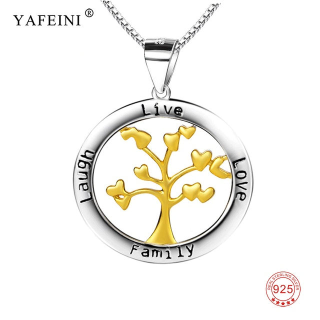 925 sterling silver family tree necklace engraved jewelry gold tree
