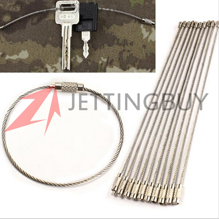 5PCS 15cm Stainless Steel Wire Keychain Cable Key Ring Chains For Outdoor Hiking