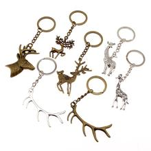New Fashion Car Keychain Key Chain Ring Deer Antler Vintage Pendant Bag Charm Keyring Handmade Gift For Boyfriend
