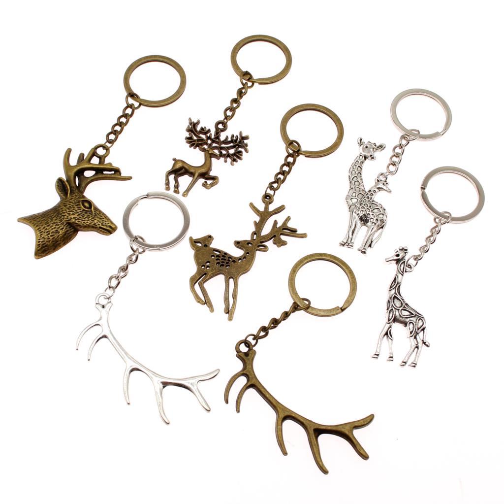 2pcs Pendant Antique Metal Animal Horse Head Key Ring Bags Charm Key Chains