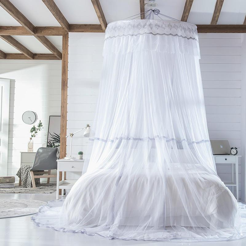 Moustiquaire à baldaquin blanche grise pour lit Double tente anti-moustiques rejette les insectes lit à baldaquin tente de lit rideau