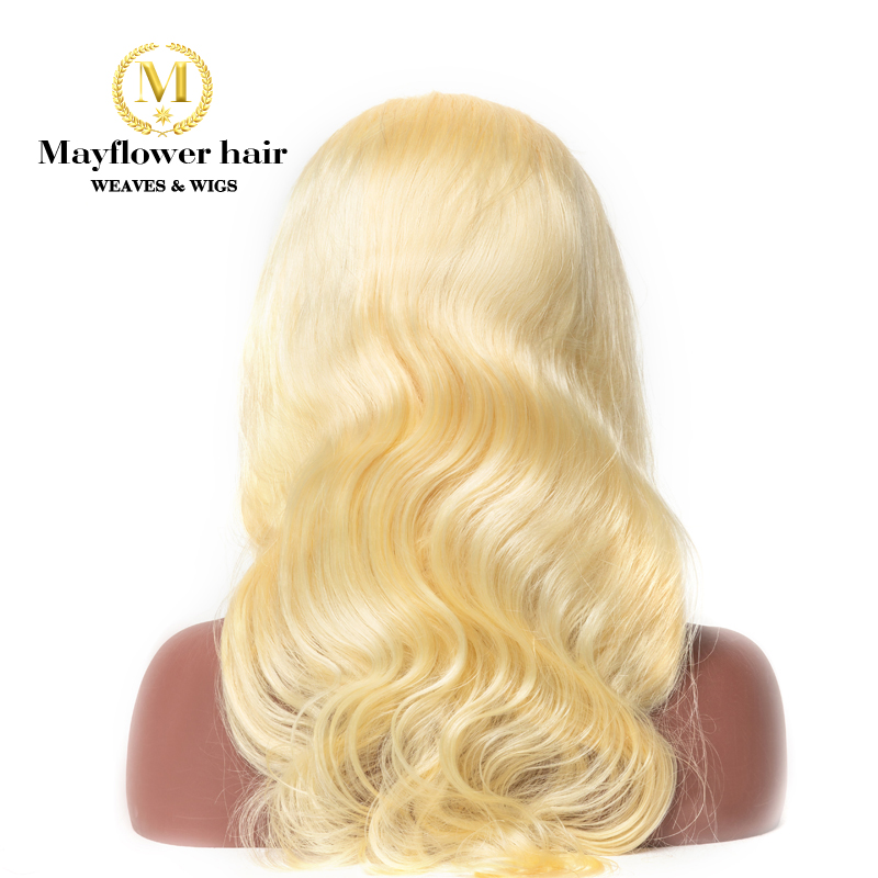 Mayflower 13x4 Frontal Lace Wigs Blonde 613 Made of 100% Virgin Raw Hair Body wave 150% Density Pre-plucked with baby hair line image