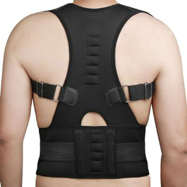 1eaa90f758 Adjustable Magnetic Posture Corrector Corset Back Support Brace Belt Orthopedic  Vest Black White AFT B002-in Braces   Supports from Beauty   Health on ...