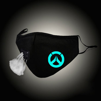 Luminous moda Unisex usta maska OW Cosplay bawełna gra maseczka do twarzy Anti PM2.5 filtr pyłowy zimowe ciepłe mufy z zaworem Respirator