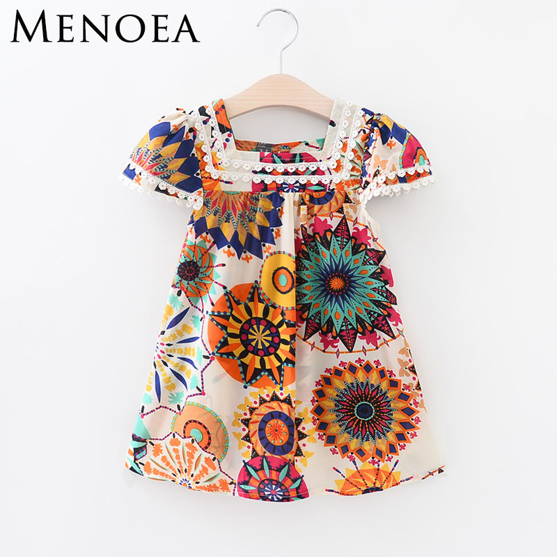 Fashion girls dress European and American Style Blue broken flower brand baby girls dress 2017 New arrive summer girls dress 2014 new fashion fall european american style flower butterfly print sundress baby