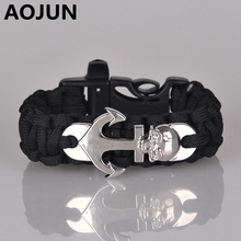 Outdoor Camping Hiking Whistle Emergency Survival Bracelet Paracord Parachute Cord Bracelets Stainless Steel Anchor Bracelet Man